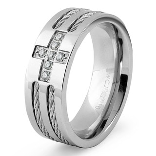 Men's Stainless Steel Cable Inlaid Cubic Zirconia Cross Ring