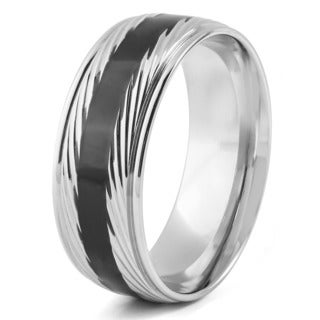 Men's Stainless Steel Diagionally Striped Grooved with Black Enamel Center Band Ring
