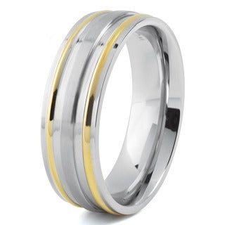 Men's Goldplated Stainless Steel Brushed and High Polished Grooved Ring