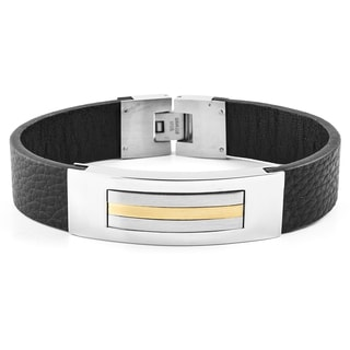 Crucible Two-Tone Stainless Steel Black Leather ID Bracelet