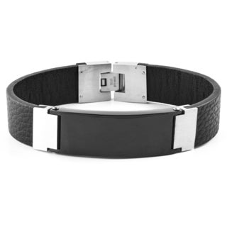 Crucible Blackplated Stainless Steel Black Leather ID Bracelet