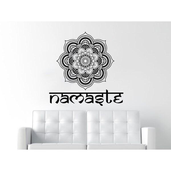 Namaste Mandala Black Vinyl Sticker Wall Art
