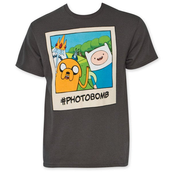 Men's Adventure Time Grey Photobomb T-Shirt
