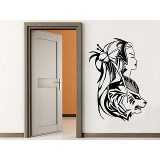 Geisha Asian Decoration Anime Black Vinyl Sticker Wall Art