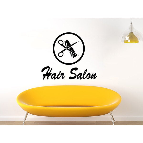 Hair Salon Logo Black Vinyl Sticker Wall Art