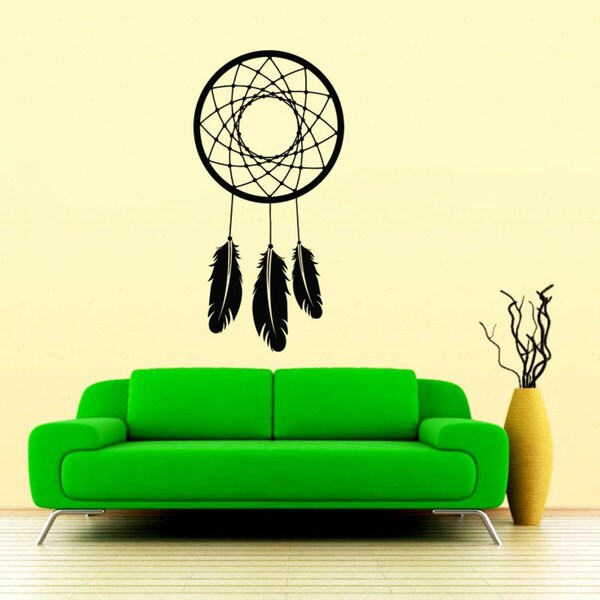 Dreams Protector Dreamcatcher Black Vinyl Sticker Wall Art