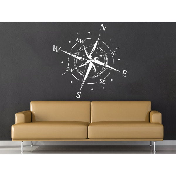 Nautical Decor White Compass Vinyl Sticker Wall Art 15860815