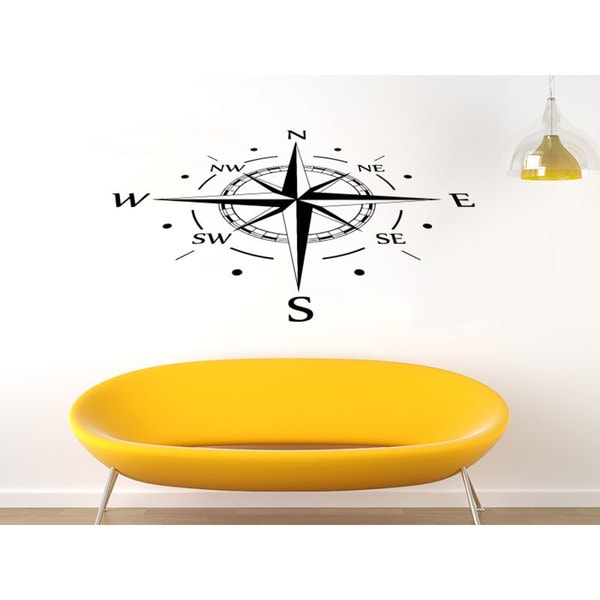 Angled Compass Nautical Black Vinyl Sticker Wall Art