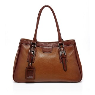 Anna Italian Leather Handbag - Brown