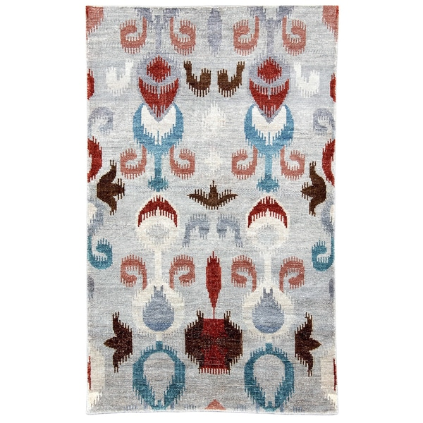 Hand-woven Nomad New Zealand Wool Abstract Grey Rug (5' x 8')