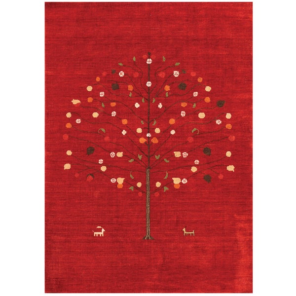 Handmade Nomadic Abstract New Zealand Wool Red Rug (5' x 8')