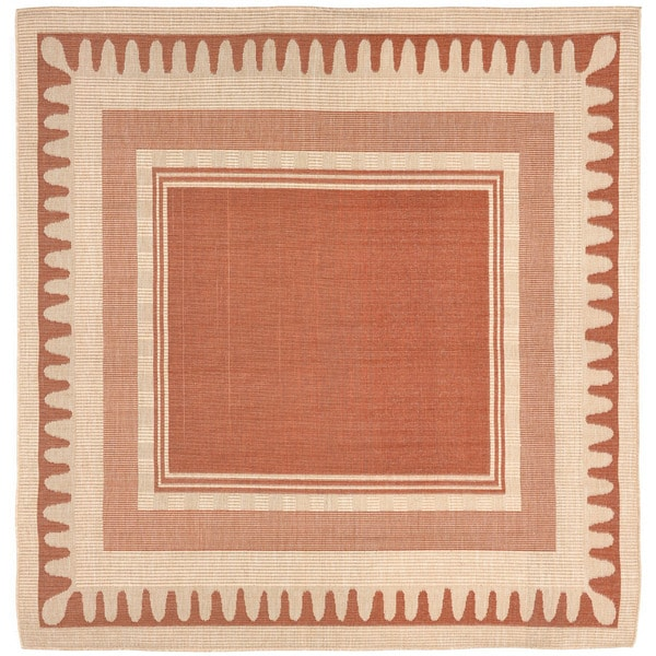 Wavey Border Outdoor Rug (7'10 x 7'10)