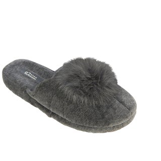 Vecceli Women's Grey Pom Pom Casual Slippers
