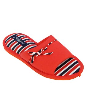 Vecceli Women's Red/ Blue Stripe Casual Slippers