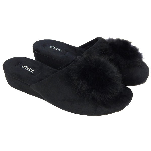 Vecceli Women's Black Pom Pom Casual Slippers