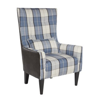angelo:HOME Silla Blue Carriage Plaid High Back Chair