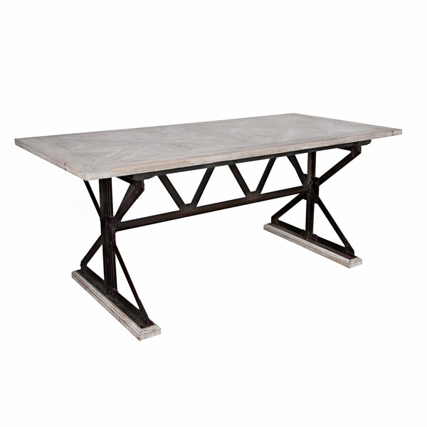 angelo:HOME Fulton Reclaimed Wood and Iron Trestle Dining Table