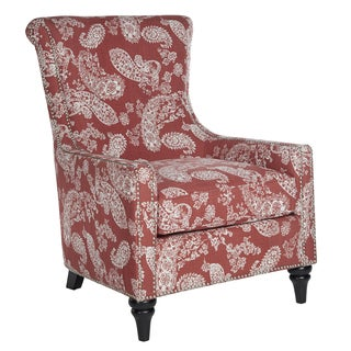 angelo:HOME Lana Vintage Washed Cranberry Red Paisley Arm Chair