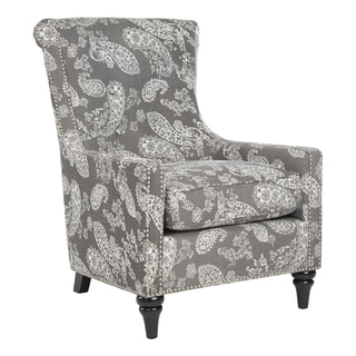 angelo:HOME Lana Vintage Washed Charcoal Paisley Arm Chair