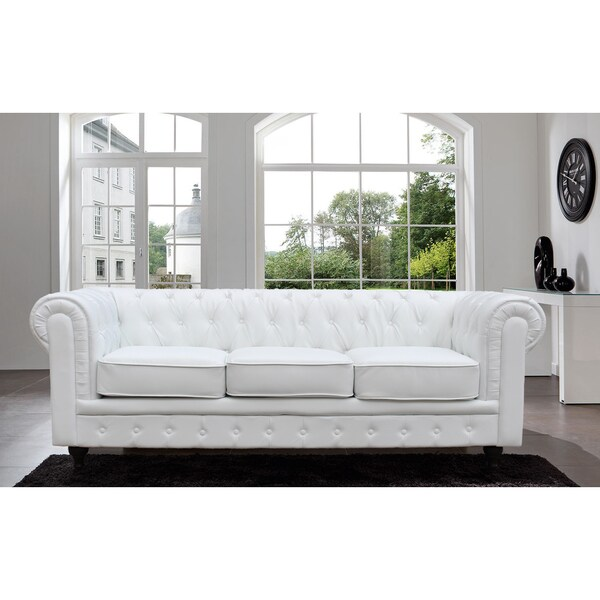 Madison Home Chesterfield Tufted Scroll Arm Black Sofa