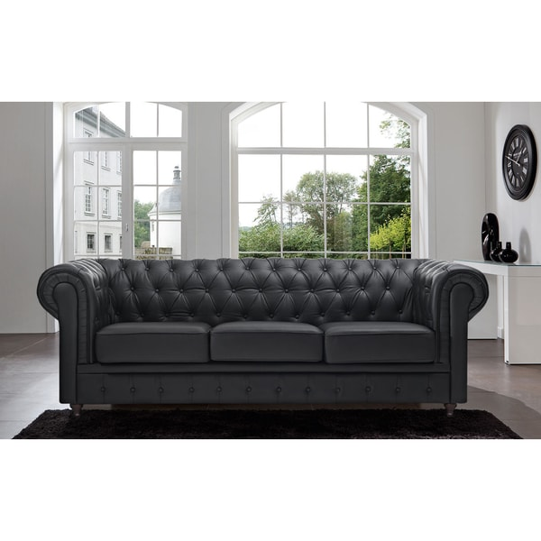 Mason White Leather Sofa: Madison Home Chesterfield Tufted Scroll Arm Black Sofa