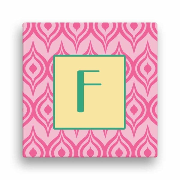 Pink Ikat Personalized 12-inch x 12-inch Canvas