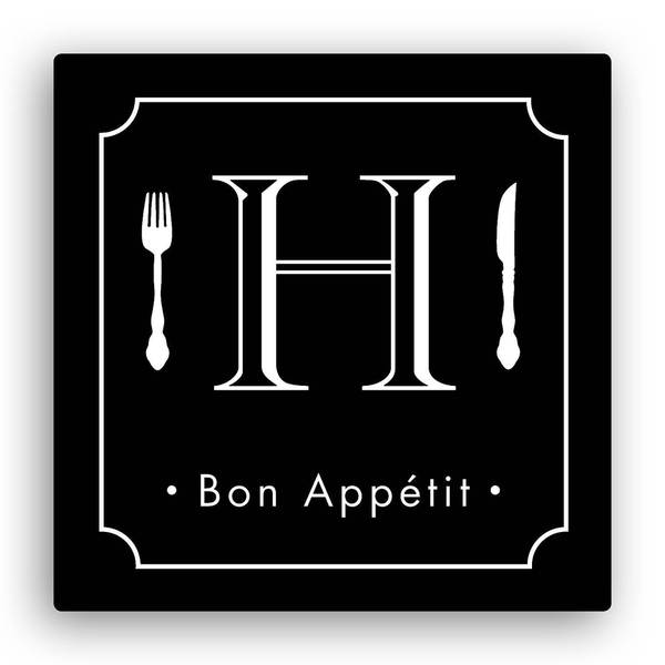 Bon Appetite Personalized Black 12-inch x 12-inch Canvas