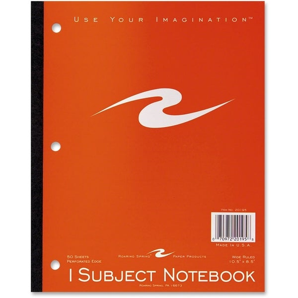 Roaring Spring 1-Subject Wide Rule Tapebound Notebook - Assorted Color