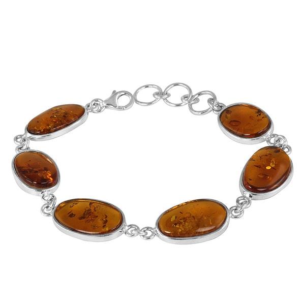 Sterling Silver Amber Tennis Bracelet