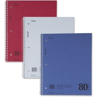 Mead DuraPress Cover College Rule 80 Sheet Notebook - Assorted Color