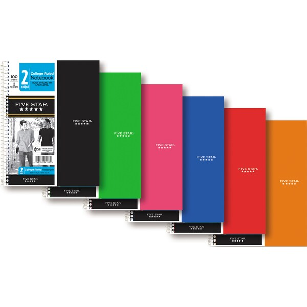 Mead Five Star 2-Subject College Rule Notebook - Assorted Color