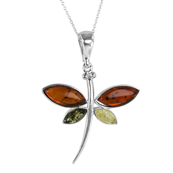 Sterling Silver Marquise-cut Multi-colored Dragonfly Baltic Amber Pendant