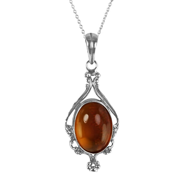 Sterling Silver Oval-cut Baltic Amber Pendant