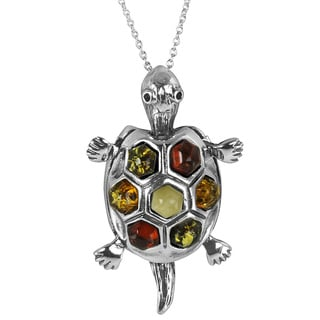 Sterling Silver Multi-colored Fancy-cut Baltic Amber Pendant