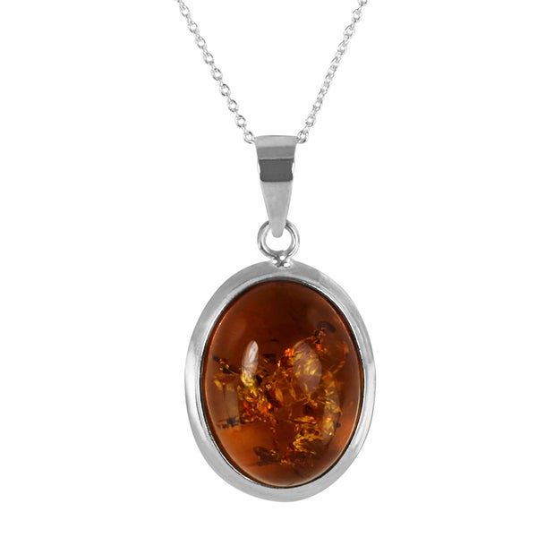 Sterling Silver Oval-cut Champagne Amber Pendant