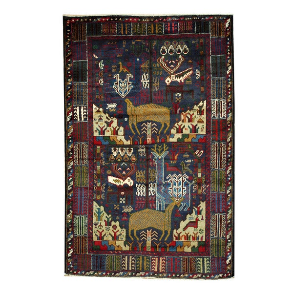 Herat Oriental Afghan Hand-knotted 1960s Semi-antique Tribal Balouchi Wool Rug (4'1 x 6'3) 15861853