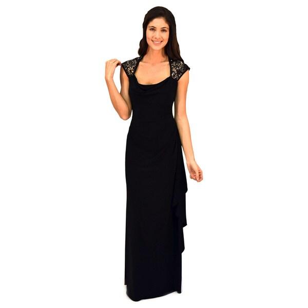 R&M Richards Black/ Gold Sequin Lace Evening Gown