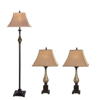 Fangio Lighting Resin and Ceramic Lamps in Bronze (Set of 3)