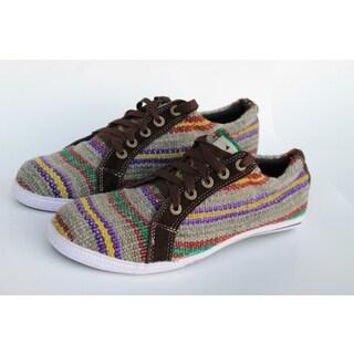 ANDIZ Handmade Low-cut Brown Wool Oxford Shoes (Ecuador)