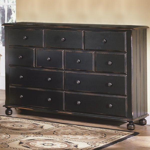 Somette Kira Black Antiqued 11-Drawer Dresser