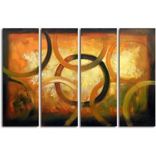'Rings On a Golden Tablet' Original Oil Painting on Wrapped Canvas Wall Art (Set of 4)