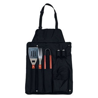 Chef Buddy BBQ Black Apron and Utensil 7-piece Set