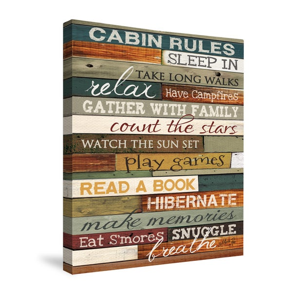 Cabin Rules Canvas Wall Art 16x20 inches by Laural Home