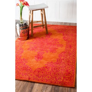 nuLOOM Handmade Traditional Wool Fancy Orange Rug (5' x 8')