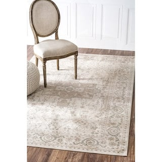 nuLOOM Oriental Vintage Viscose Traditional Fancy Beige Rug (7'8 x 9'6)