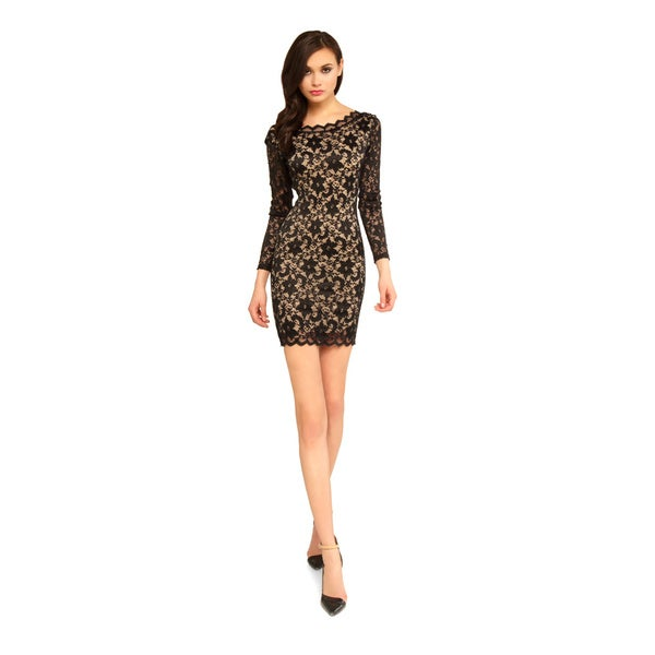 Sentimental NY Lace Long Sleeves Scalloped Back V-Neck Lace Dress