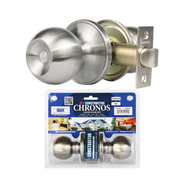 Chronos Passage Stainless Steel Finish Door Lever Lock Set Knob Handle Set