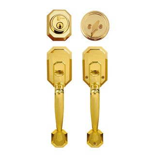 Cerberus Entry Hand Set Door Lock Lever Polished Brass Finish Door Lock Lever Handle Set