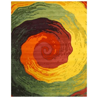 Hand-Tufted Wool Abstract Yellow Rug (8'9 x 11'9)
