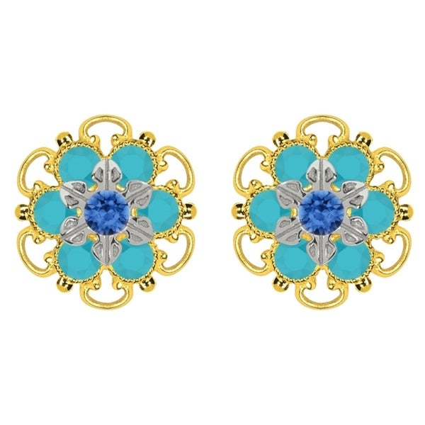 Lucia Costin Goldplated Sterling Silver Blue/ Turquoise Crystal Stud Earrings 15862339
